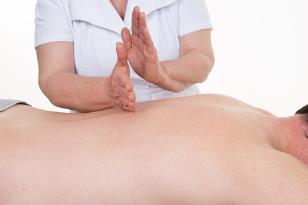 therapeutic massage: Shiatsu Japanese massage, relax in the spa, man in the office spa,