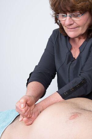 visceral: Man having visceral massage in a spa center