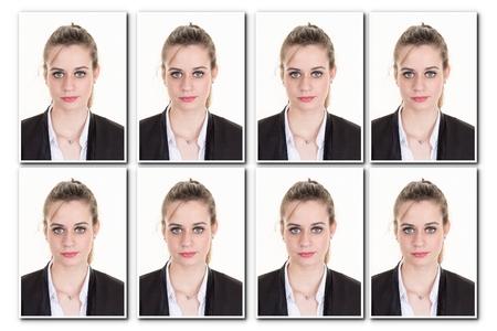 foto Identificación de una mujer para el pasaporte, el collage de 8 fotos