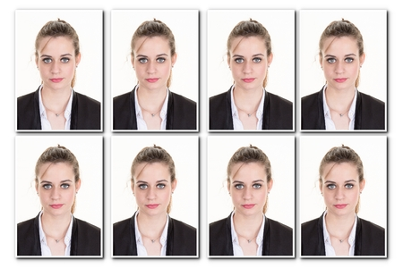 Identification photo of a girl for passport, collage of 8 photos