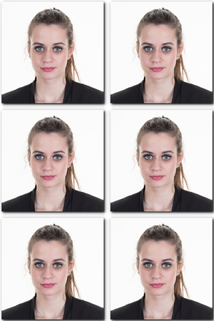 foto carnet: Identification photo of a girl for passport, identity card collage of 6 photos