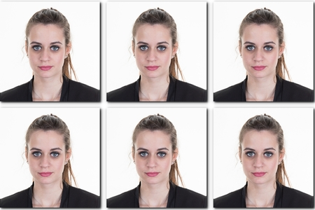 identification photo of a girl ( collage of 6 photos ) for passport, identity card, etc..