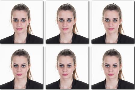 Identification photo d'une fille (collage de 6 photos) pour passeport, carte d'identité, etc .. Banque d'images - 53263803