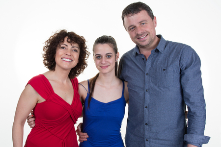 caucasian: Portrait of a happy caucasian family consisting of father,mother and daughter isolated on a white background