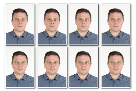 identification: Identification photo of a serious man for passport, identity card, ..isolated