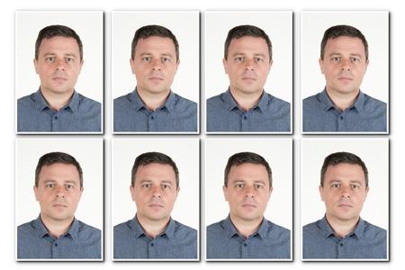 Foto de identificación de un hombre serio para pasaporte, tarjeta de identidad, ..isolated