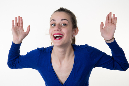 woman hands up: Isolated young business woman happy hands up Stock Photo