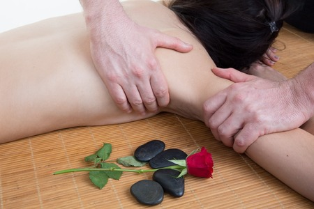 lymphatic drainage: position of hands and fingers at lymphatic drainage massage of a female body Stock Photo