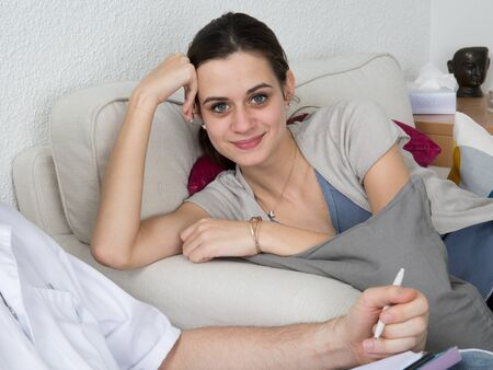 neurosis: depression treatment - Female patient talking to the therapist