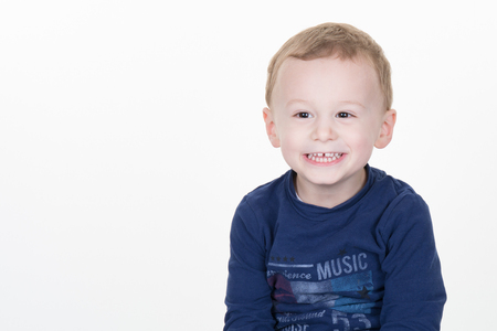 three years old: Three years old boy isolated and copy space on the right