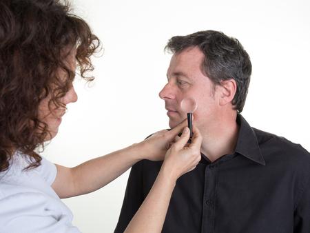 doctor examine: Female medicine doctor  examine patient . Medical concept. Dermatologist examination. Illness diagnosing.