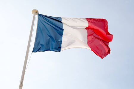 french flag: French flag pole against clear blue sky