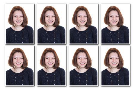 foto carnet: foto Identificación de una mujer para el pasaporte, el collage de 8 fotos