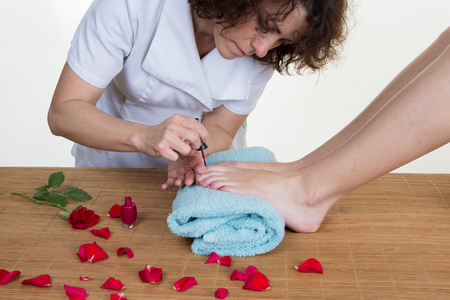 aroma therapy: Close-up of female feet getting spa aroma therapy
