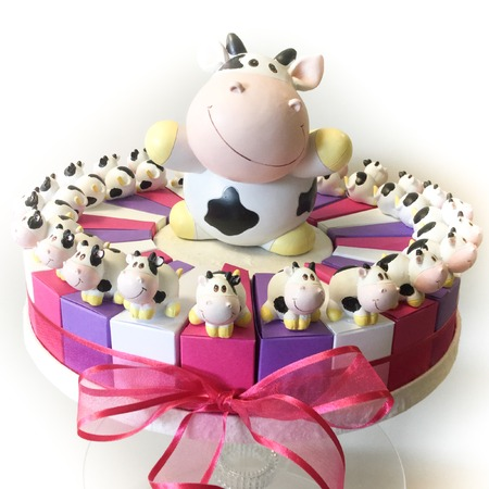 confetto: Heap of sugared almonds in a cake for present Stock Photo