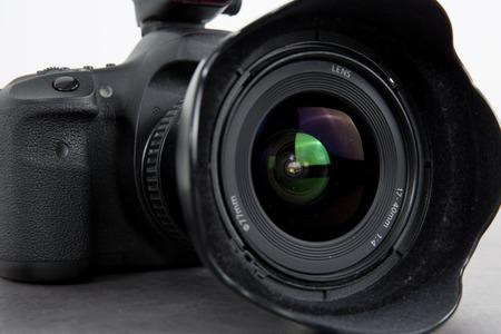 digicam: Close up of digital lens, digital photo camera isolated