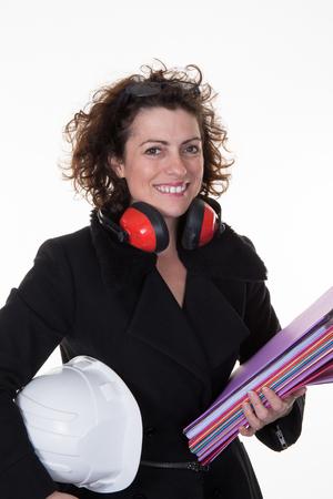 female architect: Caucasian female architect isolated on white background Stock Photo