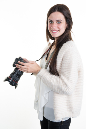 photography session: Profile view of Female Photographer Shooting You