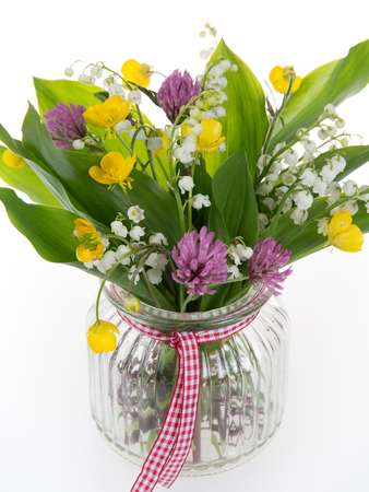 Beautiful bouquet of bright wildflowers, isolated on white Stock Photo