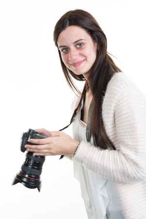 Profile view of Female Photographer Shooting You