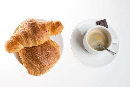 buttery: Cup of coffee with french croissant and chocolatine with chocolate
