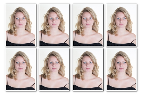 Identification photo of a girl for passport, identity card collage of 8 photos