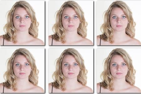 foto de pasaporte de una mujer con el pelo largo y rubio - USA forma -6 fotos