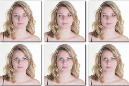 Passport picture of a woman with long blond hair - USA form -6 photos