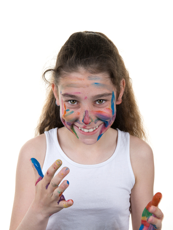 messed: Portrait of young girl messed with color paint isolated over white