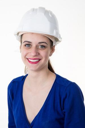 female architect: Happy female architect isolated on white background
