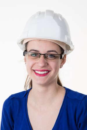 female architect: Smiling happy female architect isolated on white background Stock Photo