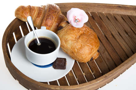 continental breakfast: Continental Breakfast with Coffee and Fresh Croissant Stock Photo