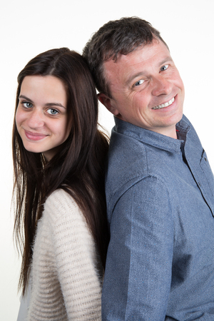 17 year old: Father and daughter together isolated and smiling Stock Photo