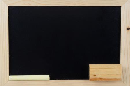 chalks: Small school wooden blank blackboard and chalks