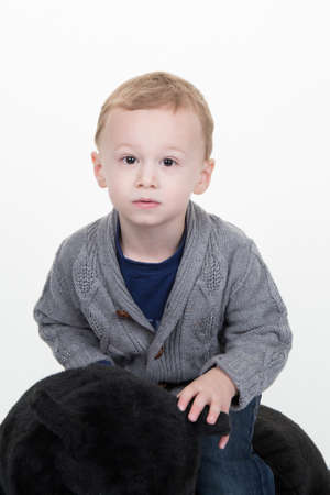 three years old: Portrait of serious little boy of three years old Stock Photo