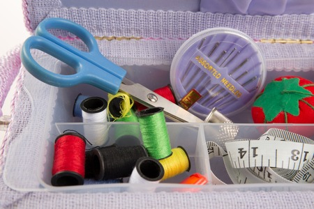 sewing box: Box with accessories for sewing, sewing needles scissors and centimeter