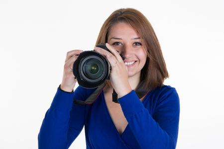 female photographer: Female Photographer Shooting You isolated on white