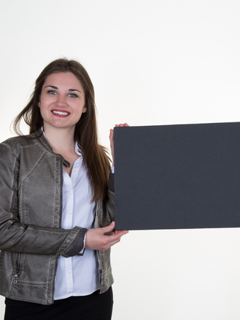 blanck: Woman with a blanck black board isolated