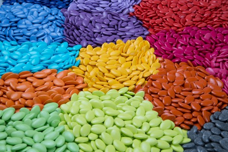 dragees: Colorful dragees, multi color sugar dragees, candy background Stock Photo