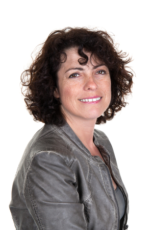 gingerish: Profile portrait of woman wearing leather jacket and smiling Stock Photo