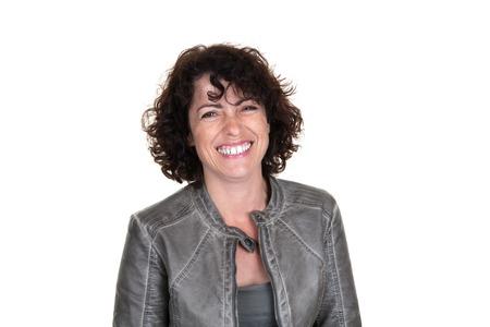 gingerish: Portrait of woman wearing leather jacket and smiling Stock Photo