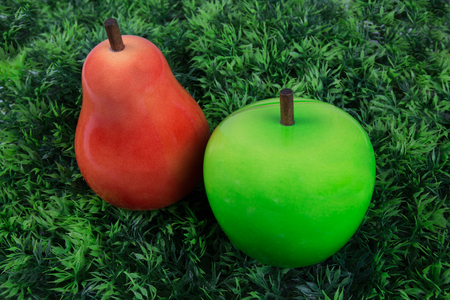 edibles: Two fruits , pear and green appleunder green grass for the children