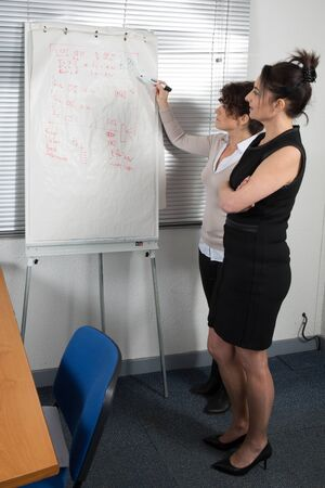 paper board: A Smiling Adult Office Woman Showing business plan on paper board