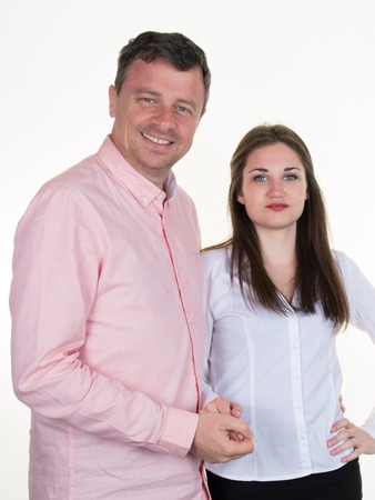 own blood: Happy man and his beautiful daughter on white background Stock Photo