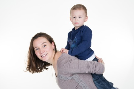 3 year old boy: Full portrait of a happy young mother with son