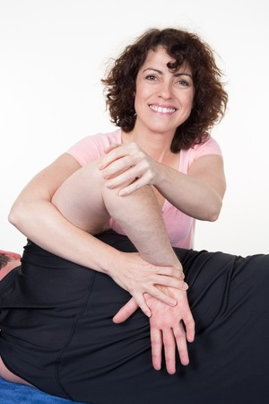 trapezius: Professional therapist doing neck and shoulder deep tissue and sport massage
