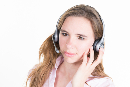 headset woman: Telemarketing headset woman from call center smiling happy
