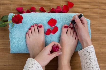 beautiful feet: Care for beautiful woman legs and feet Stock Photo
