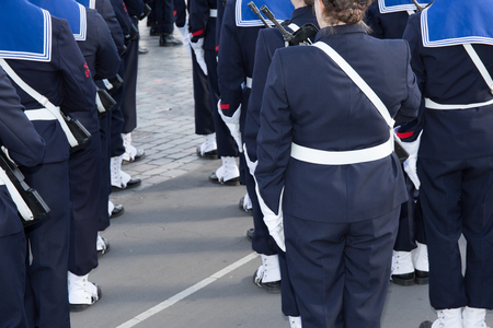 marching: Happy french sailor marching soldier women and men