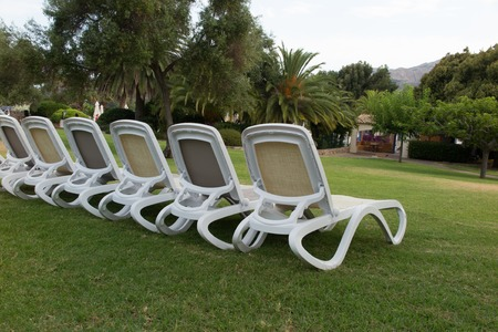 deck chairs: Deck chairs on the grass holidays summertime